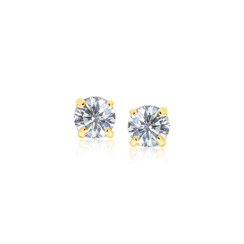 14k Yellow Gold Stud Earrings with White Hue Faceted Cubic Zirconia