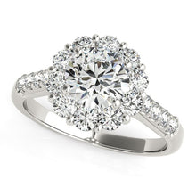 Load image into Gallery viewer, 14k White Gold Round Diamond Halo Engagement Ring (2 1/2 cttw)