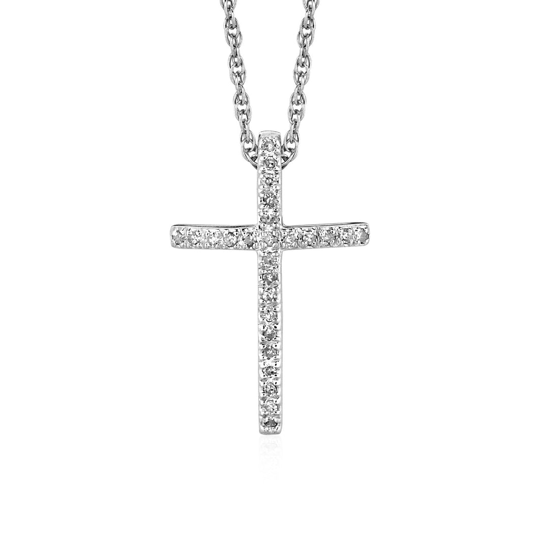 Narrow Cross Pendant with Diamonds in Sterling Silver
