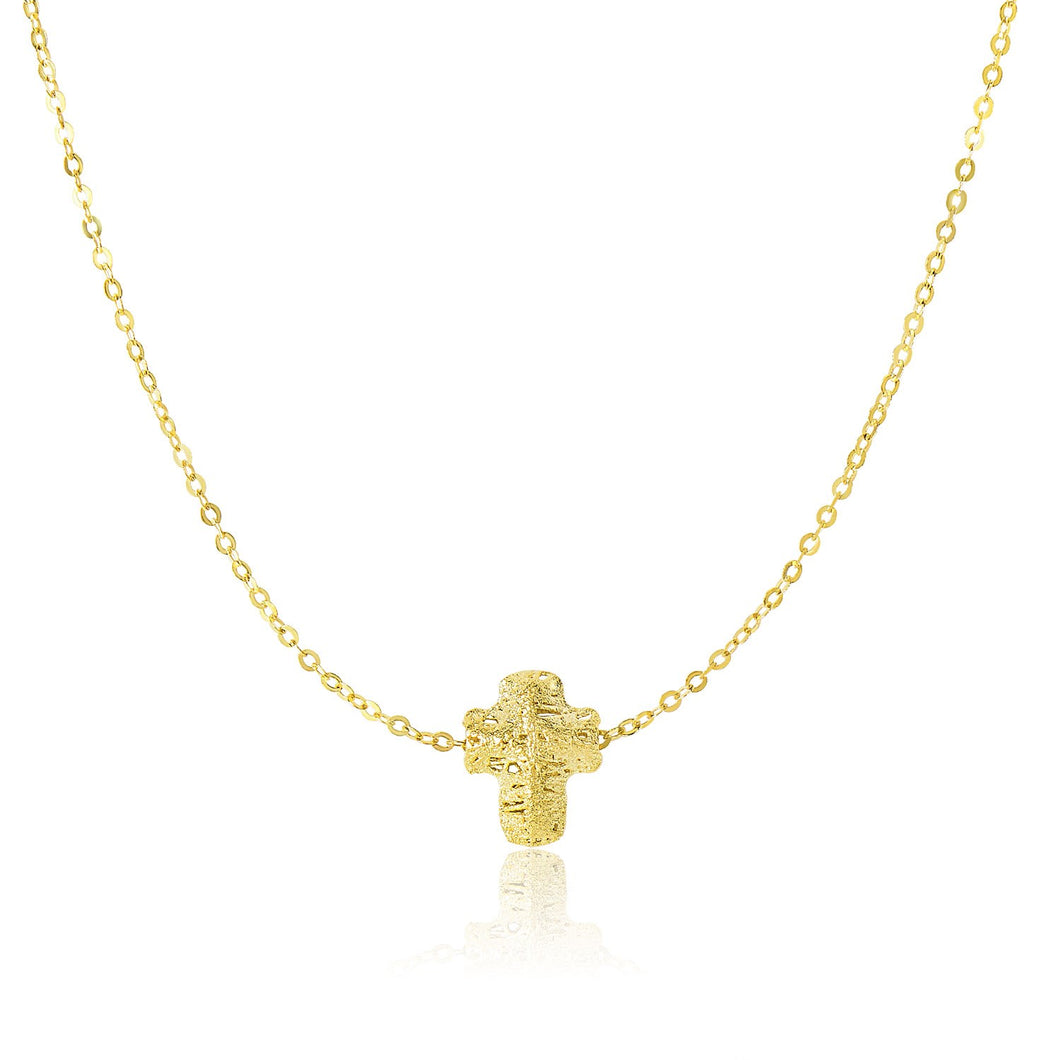 14k Yellow Gold Mesh Puffed Cross Necklace