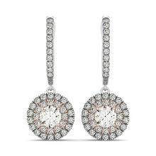 Load image into Gallery viewer, 14k White And Rose Gold Drop Diamond Earrings with a Halo Design (3/4 cttw)