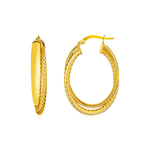 14k Yellow Gold Two Part Textured Twisted Oval Hoop Earrings