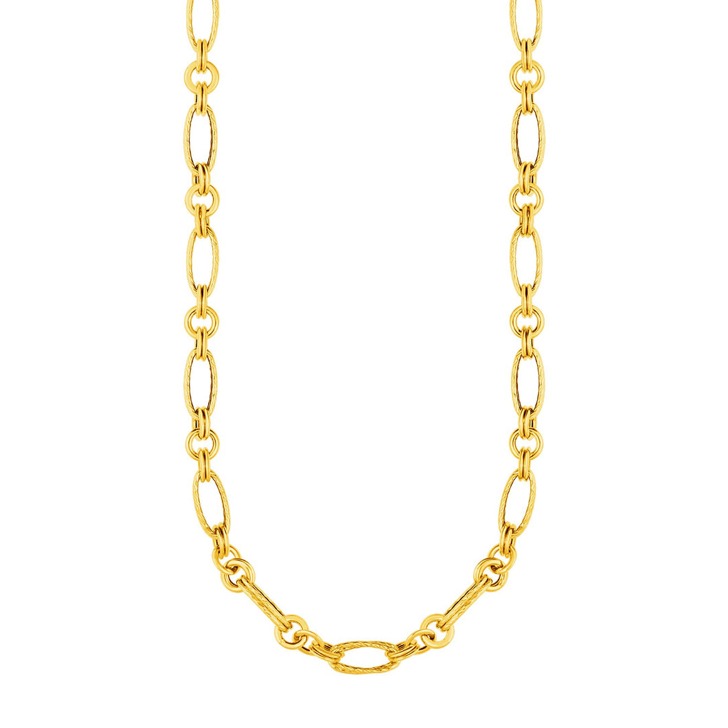 14k Yellow Gold Twisted and Polished Link Necklace