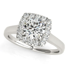 Load image into Gallery viewer, 14k White Gold Square Shape Border Diamond Engagement Ring (1 1/3 cttw)