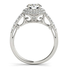 Load image into Gallery viewer, 14k White Gold Halo Style Diamond Engagement Pave Shank Ring (1 1/2 cttw)