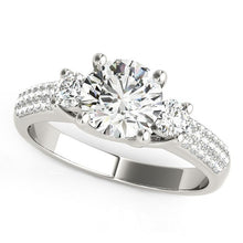Load image into Gallery viewer, 14k White Gold 3 Stone Pave Set Band Diamond Engagement Ring (1 7/8 cttw)