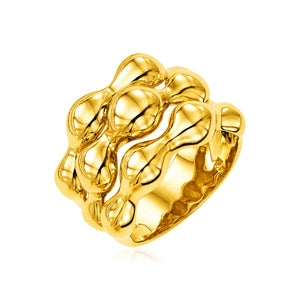 14k Yellow Gold Polished Bubble Shaped Ring