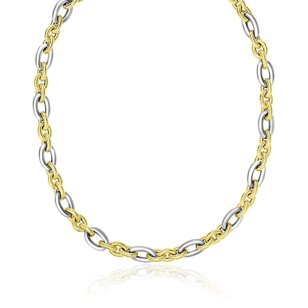 14k Two-Tone Gold Textured and Smooth Oval Chain Necklace