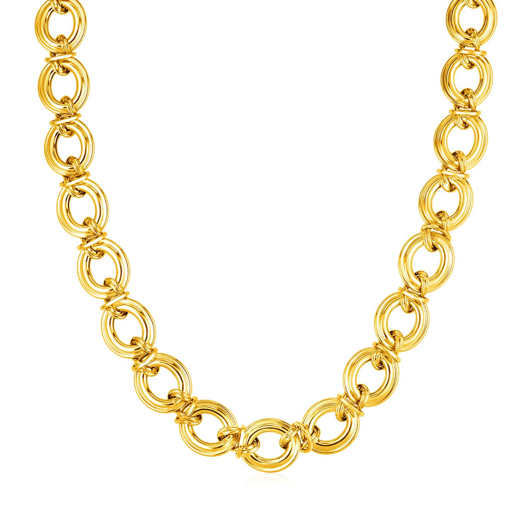 14k Yellow Gold Polished Round Link Necklace