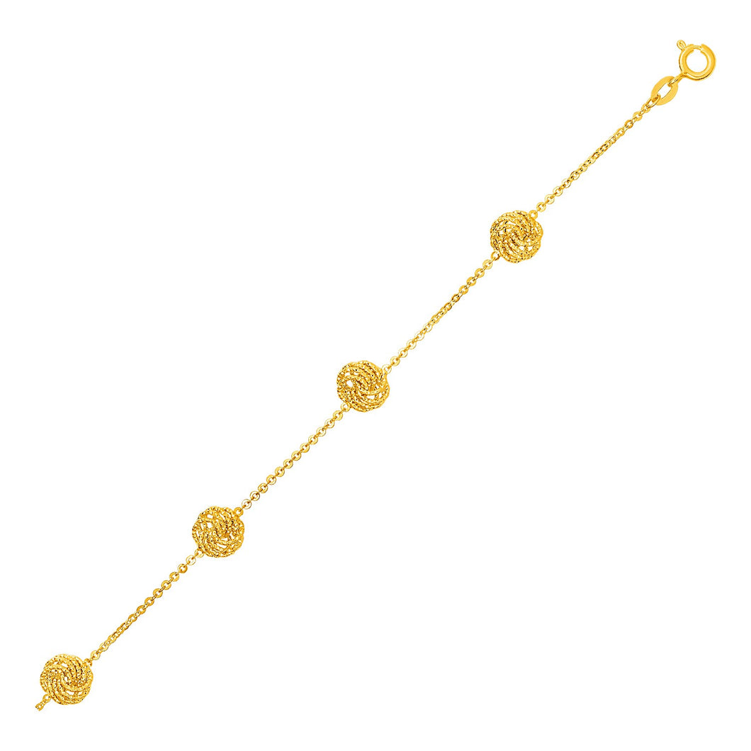 14k Yellow Gold Textured Love Knot Bracelet