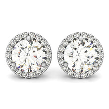 Load image into Gallery viewer, 14k White Gold Round Prong Halo Style Earrings (1 cttw)