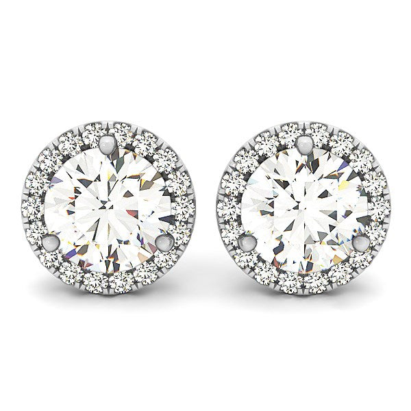 14k White Gold Round Prong Halo Style Earrings (1 cttw)