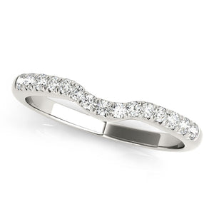 14k White Gold Pave Set Curved Diamond Wedding Band (1/5 cttw)
