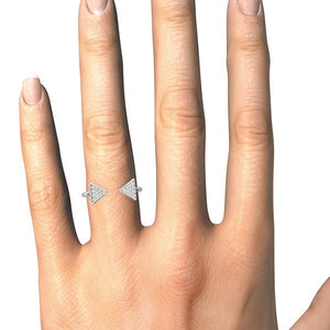 14k White Gold Diamond Arrowhead Open Ring (1/5 cttw)