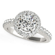 Load image into Gallery viewer, 14k White Gold Classic with Pave Halo Diamond Engagement Ring (1 1/2 cttw)