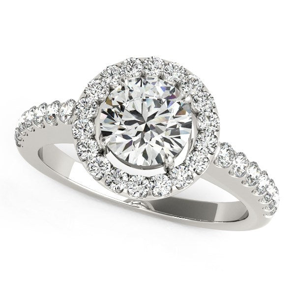 14k White Gold Classic with Pave Halo Diamond Engagement Ring (1 1/2 cttw)