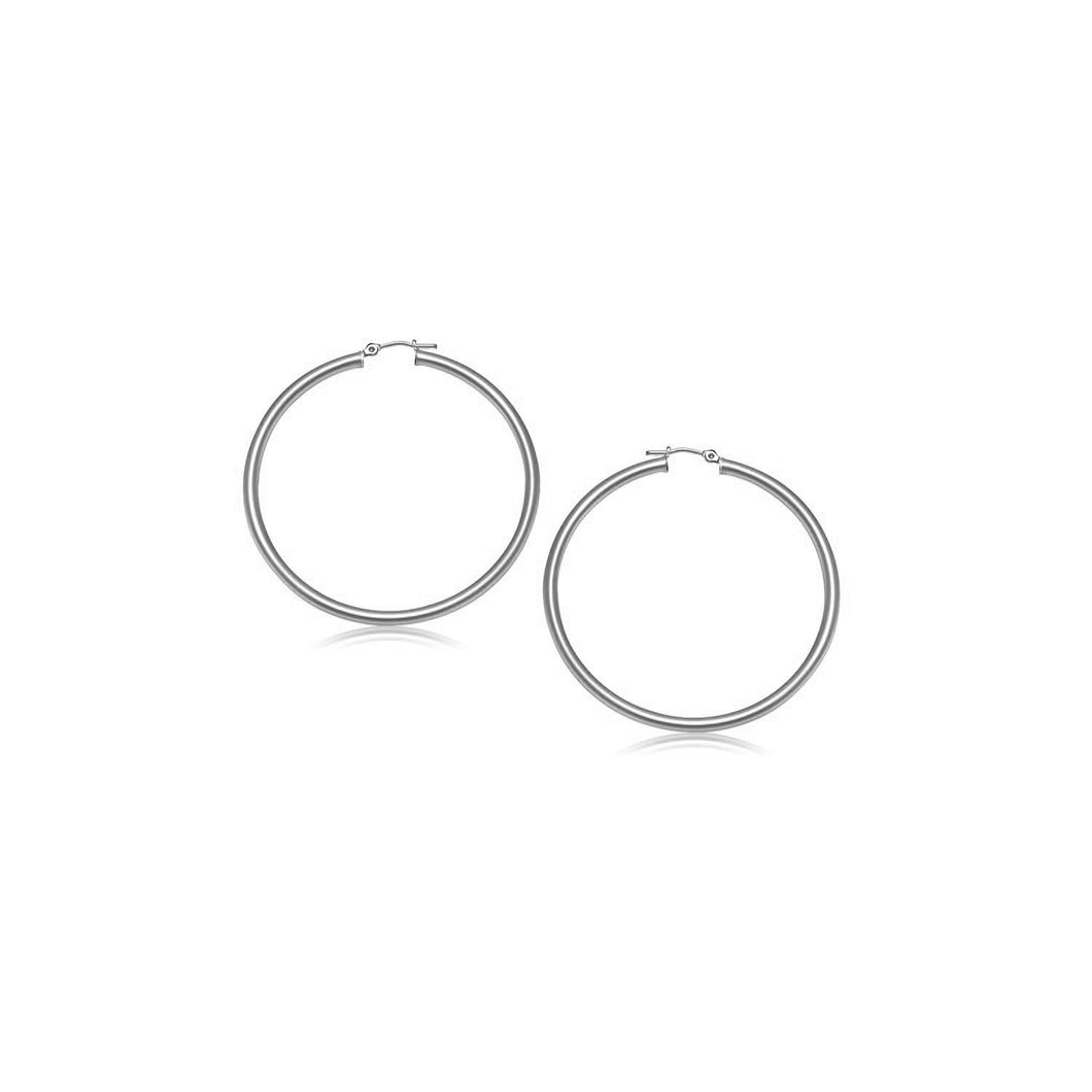 10k White Gold Polished Hoop Earrings (15 mm)