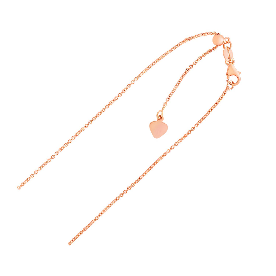 Adjustable Cable Chain in 14k Rose Gold (1.0mm)