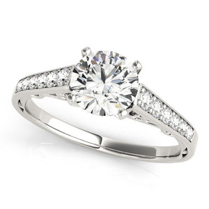 14k White Gold Cathedral Design Diamond Engagement Ring (1 1/4 cttw)