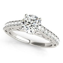 Load image into Gallery viewer, 14k White Gold Unique Detailing Diamond Engagement Ring (1 1/3 cttw)