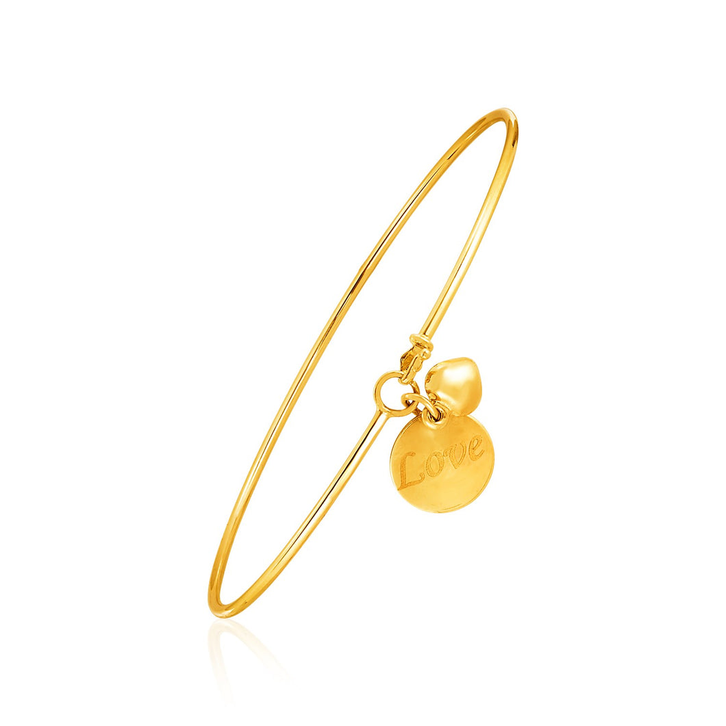 14k Yellow Gold Bangle with EngravedLove and Puffed Heart Charms14k Yellow Gold Bangle with Engraved