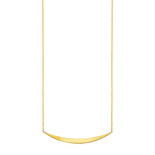14k Yellow Gold Necklace with Polished Curved Bar Pendant