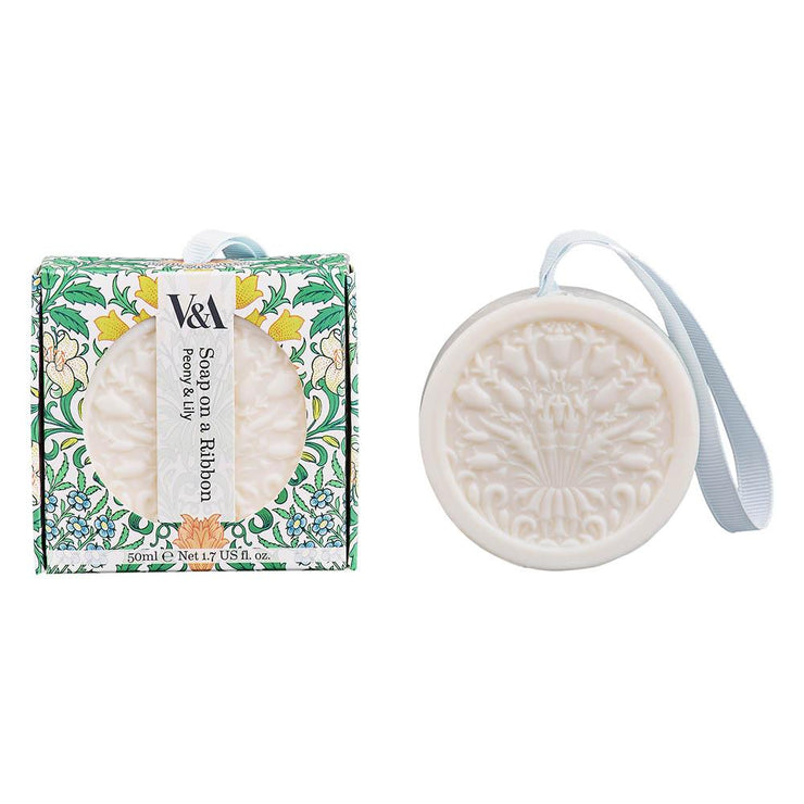 V & A Soap on a Ribbon - Peony & Lily