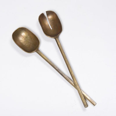 Antique Brass Salad Servers