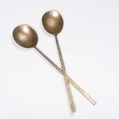 Antique Brass Salad Servers - Twist Handle