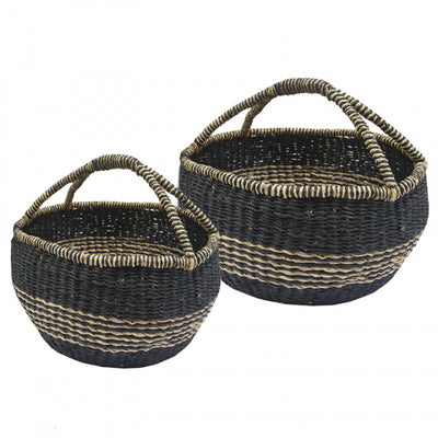 Seagrass Basket with Handle - Black