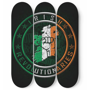 Irish Revolutionary Logo 3 Piece Skateboard Wall Art Green Background