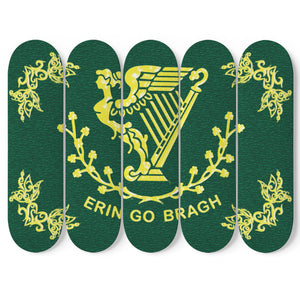 Erin Go Bragh Skateboard Irish Wall Art 5 Piece