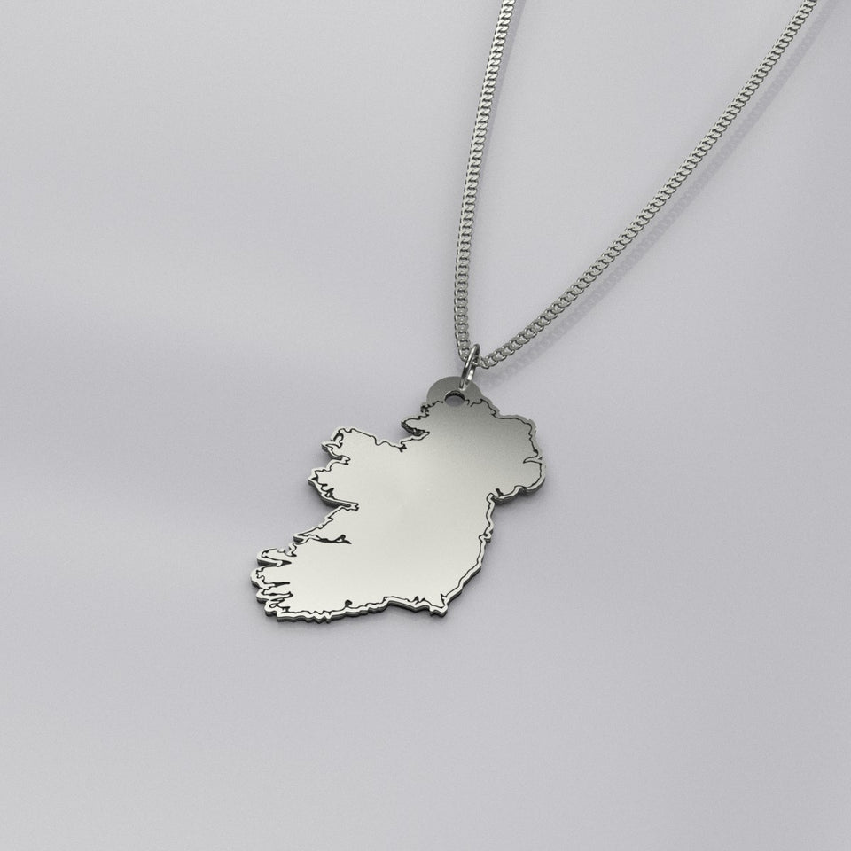 Silver Map Of Ireland Pendant & Chain
