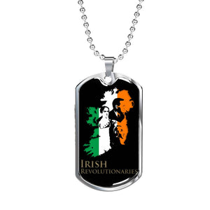 Revolutionary Tricolour Map Of Ireland Dog Tag & Chain