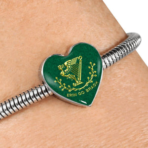 Erin Go Bragh Heart Charm - Luxury Steel Bracelet