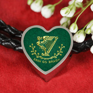 Erin Go Bragh Heart Charm - Real Leather Woven Bracelet