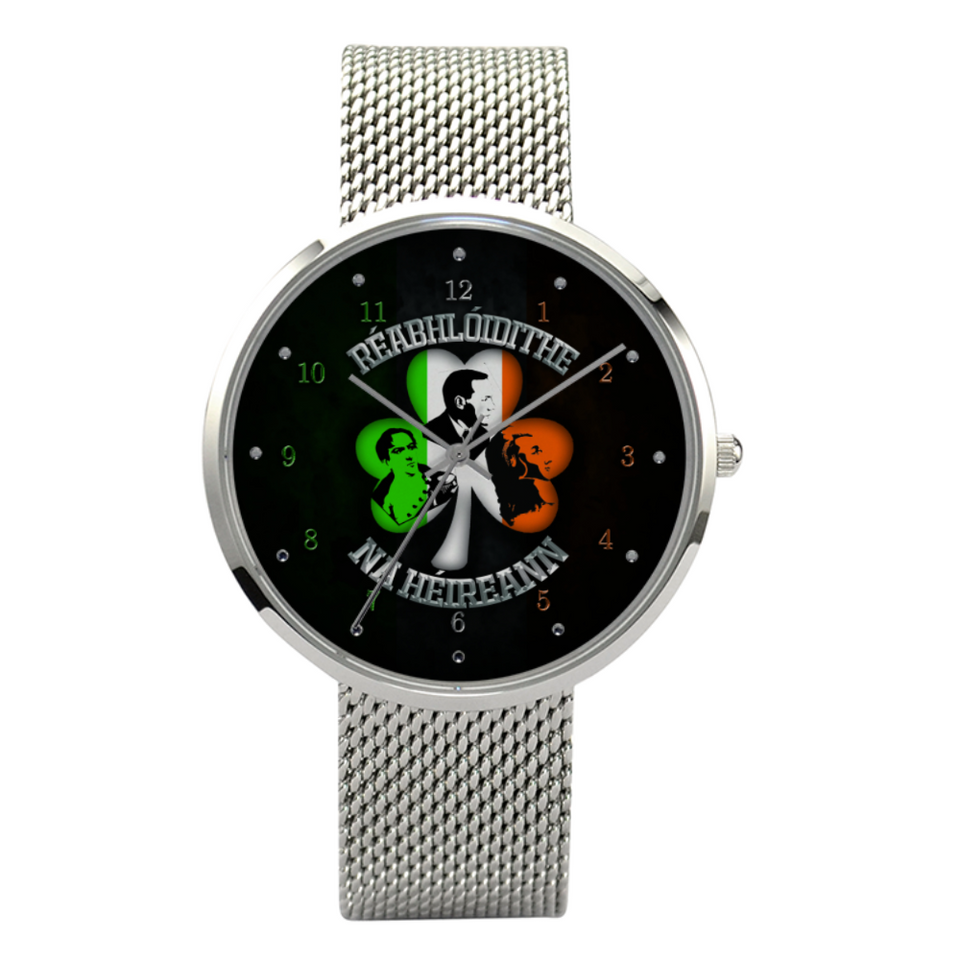 Réabhlóidithe na hÉireann Quartz Style Fashion Watch With Casual Stainless Steel Band