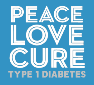 PEACE LOVE CURE type 1 Diabetes youth tshirt