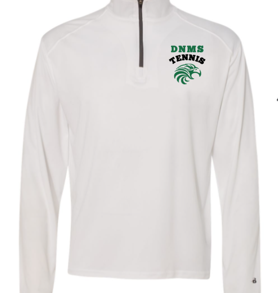 DNMS Tennis white quarter zip