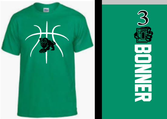 Green Derby Basketball shirt with last name and number
