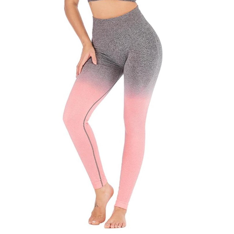 bc3e7bc5a90af Ombre Seamless High Waist Contouring Gym Leggings Pink Grey – 1919 ...