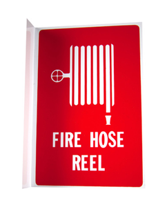 Fire Hose Reel Cover PVC UV Rated + Sign