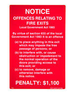 Fire Exit Penalty Notice Sign