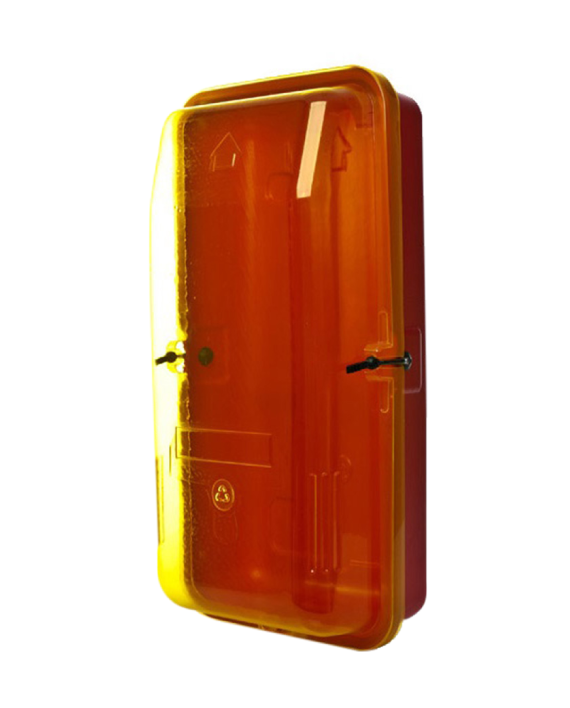 Fire Extinguisher Cabinet 9.0kg Plastic-Yellow Transparent Front Cover, FREE location sign + ID sign