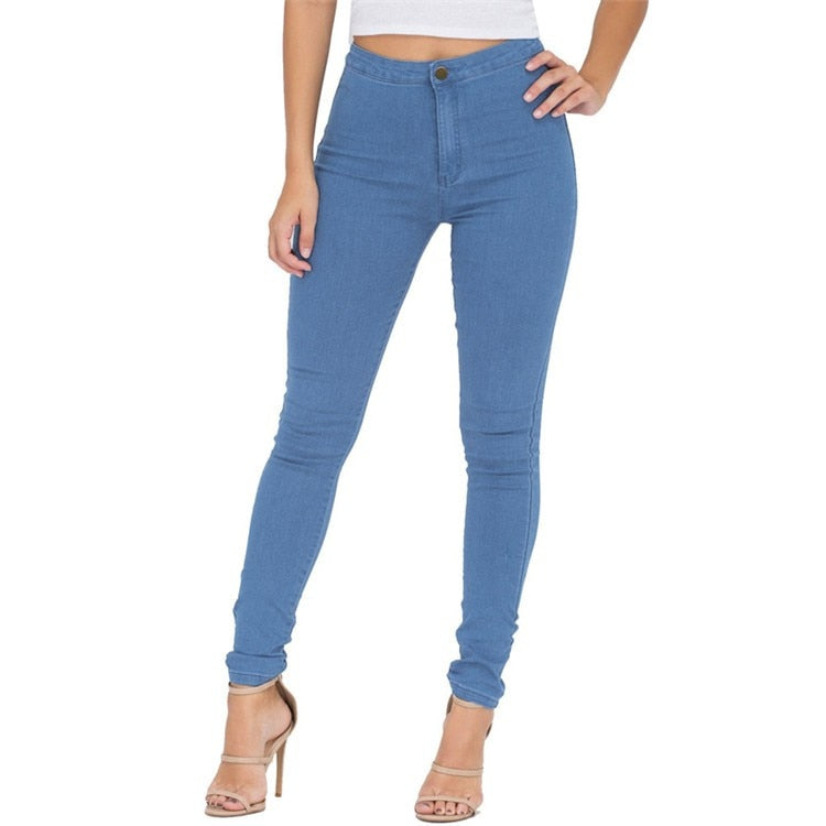 Eastdamo Slim Jeans For Women Skinny High Waist Jeans Woman Blue Denim Pencil Pants Stretch Waist Women Jeans Pants Plus Size