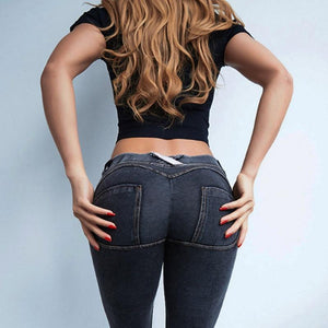 Low Waist Elastic Push Up Skinny Jeans - Redbovi.com