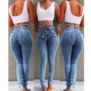 High Waist Jeans For Women Slim Stretch Denim Jean Bodycon Tassel Belt Bandage Skinny Push Up Jeans Woman