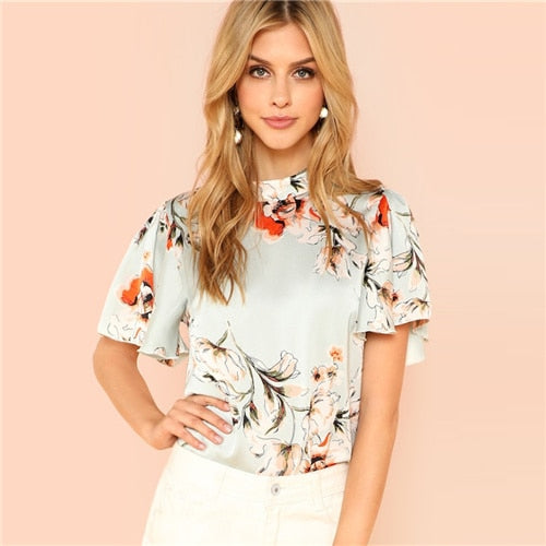 Sheinside Elegant Floral Print Blouse Women Summer Flounce Sleeve Satin Blouses Casual Stand Collar Keyhole Back Button Top