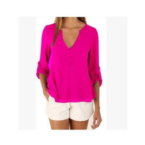 Fashion Women Blouse & shirt Plus Size S-5XL kimon Female long sleeve chiffon blouse Chic Elegant Lady Loose Tops chiffon shirt