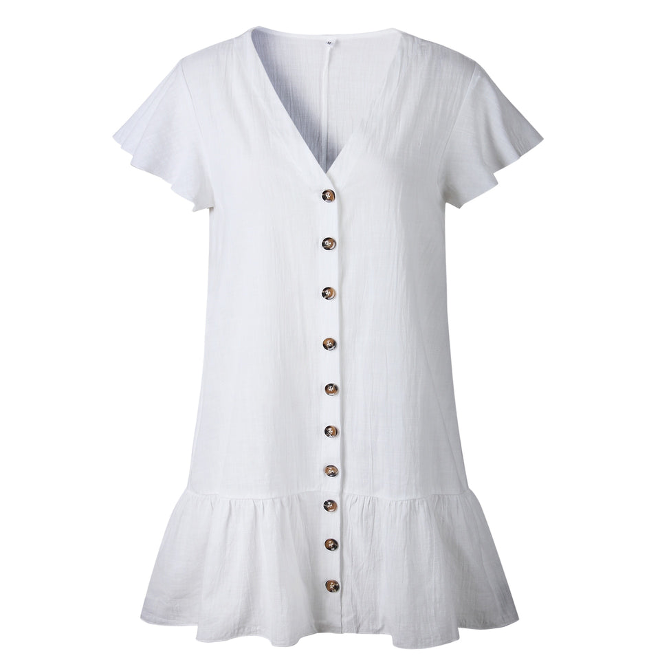 Solid Casual Mini Dress Sexy V-Neck Short Sleeve Ruffle Buttons Women New Summer Dresses Cotton White Dress Female Vestidos